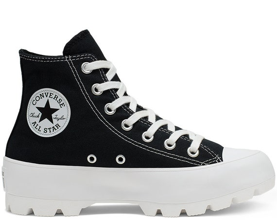 Black Platform Converse Canvas Wedge High Top Lugged Club Kicks Custom w/ Swarovski Crystal Rhinestone Chuck Taylor All Star Sneakers Shoes
