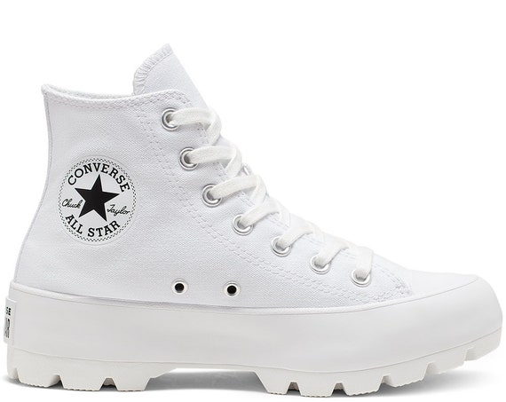 White Platform Converse Canvas Wedge High Top Lugged Club Kicks Custom w/ Swarovski Crystal Rhinestone Chuck Taylor All Star Sneakers Shoes