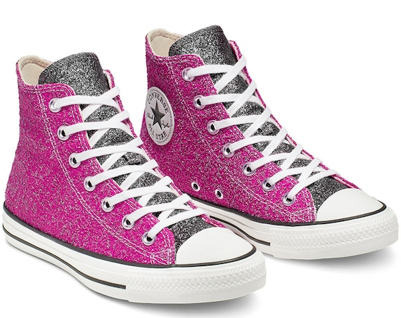 Sparkle Pink Converse Black Silver Glitter High Top Metallic Chuck Taylor Custom w/ Swarovski Crystal Rhinestone Bling All Star Sneaker Shoe