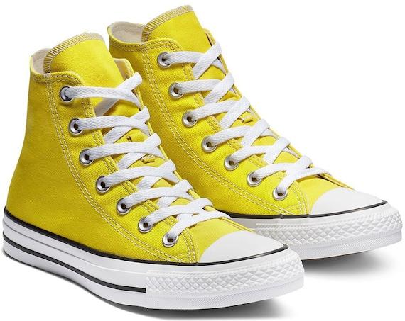 Yellow Converse High Top Chartreuse Bold Citron Canvas w/ Swarovski Crystal Rhinestone Chuck Taylor All Star Bridal Wedding Sneaker Shoe