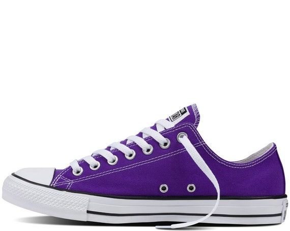 Purple Converse Low Top Grape Custom Bling Wedding Kicks Kids w/ Swarovski Crystal Rhinestone Jewel Chuck Taylor All Star Sneakers Shoes
