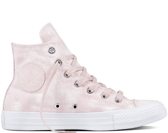 Pink Converse High Tops Rose Petal Marble Wash White Coral w/ Swarovski Crystal Bling Rhinestone Chuck Taylor All Star Wedding Sneaker Shoe