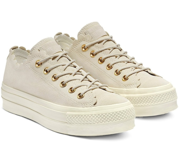 Ivory Beige Converse Platform Ivory Gold Frill Suede Leather Lift Low Kicks w/ Swarovski Crystal Chuck Taylor All Star Wedding Sneakers Shoe