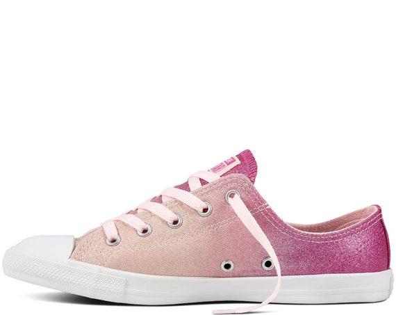 Pink Converse Dainty Ombré low top Slip on Glitter Magenta Chuck Taylor Custom w/ Swarovski Crystal All Star Wedding Bride Sneaker Shoe