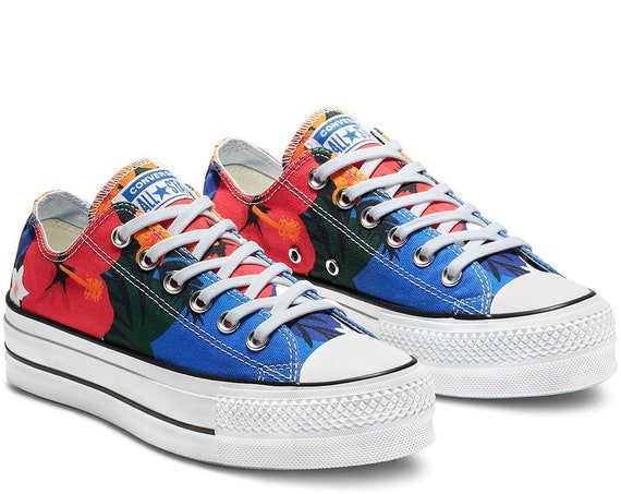 Floral Converse Paradise Platform lift heels wedge Rainbow Canvas Low Top w/ Swarovski Crystal Rhinestone Chuck Taylor All Star Sneaker Shoe