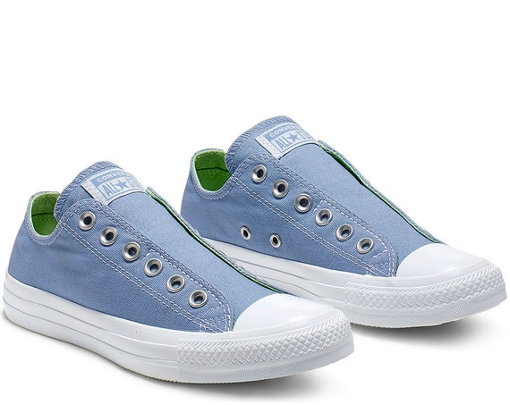 Slip on Converse Sky Blue Jean Aqua Laceless Custom Kicks w/ Swarovski Crystal Rhinestone Wedding Reception Chuck Taylor Bride Sneakers Shoe