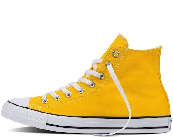 Yellow Converse High Tops Sunflower Lemon Sun Bling Canvas w/ Swarovski Crystal Rhinestone Chuck Taylor All Star Bridal Wedding Sneaker Shoe