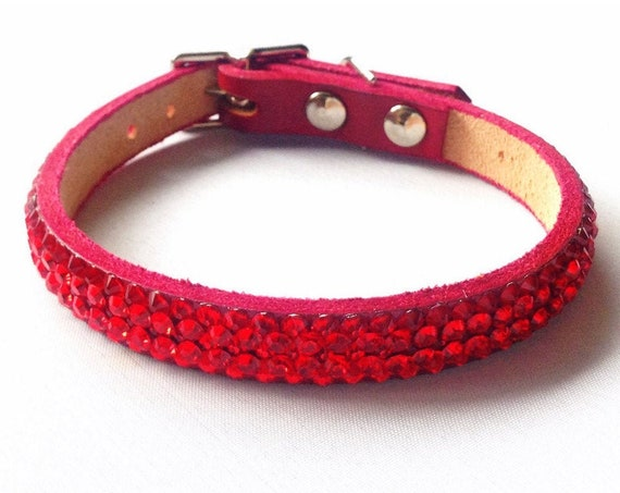 "Red Leather Pet Collar 10-12"" Super Bling Cherry Custom Exclusive 3D Iced w/ Swarovski Crystal Rhinestone Cat Small Dog or Breakaway Safety"
