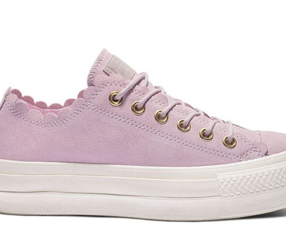 """Pink Converse 1.5"""" Platform Ruffle Gold Frill Suede Leather Lift Low Kicks w/ Swarovski Crystal Chuck Taylor All Star Wedding Sneakers Shoes"""