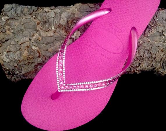 Pink Havaianas Slim Flip Flops Hot Fuchsia Rose Custom Crystal w/ Swarovski Rhinestone Jewels Beach Bridal Wedding Bling Glass Slipper Shoes