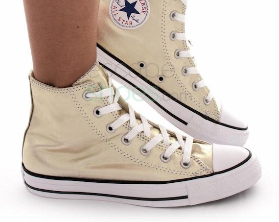Gold Converse High Top Wedding Metallic Canvas Custom w/ Swarovski Crystal Bride Chuck Taylor Rhinestone Bling All Star Bridal Sneakers Shoe