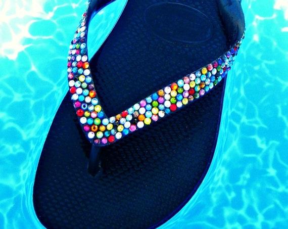 Rainbow Crystal Flip Flop w/ Swarovski Jewels Custom Havaianas or Cariris Wedge Beach Wedding Shoes Multi Color Confetti Rhinestone Gift
