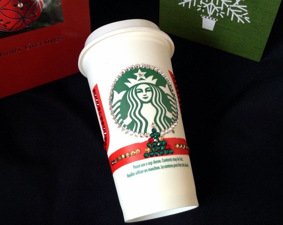 Custom Crystal Collector JOY Starbucks Cup 16oz Grande Swag Christmas w/ Swarovski Eco reusable To Go Travel Coffee Tea Cup Tumbler mug Gift