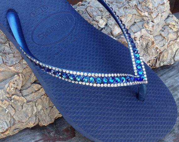 Havaianas Slim Flip Flops Navy Blue Bermuda Ocean Sea w/ Swarovski Crystal Sophisticate Wedding Sandals Jewels Rhinestone Brides Beach Shoes