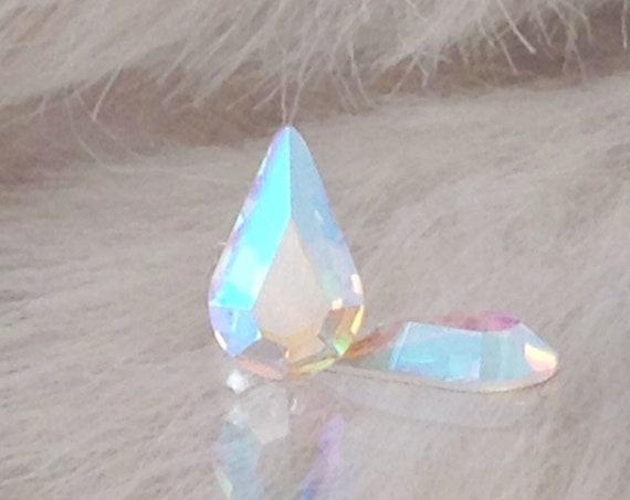 Vintage Swarovski Crystal AB Earrings Pear Tear Drop Iridescent Stud Earring 10mm Rhinestones Minimalist Hypo Titanuim Silver Post Jewelry