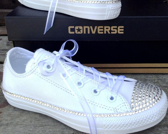 Leather Converse White Wedding Low Top Full Bling Crystal Bridal Custom w/ Swarovski Rhinestone Jewel Chuck Taylor All Star Sneakers Shoes