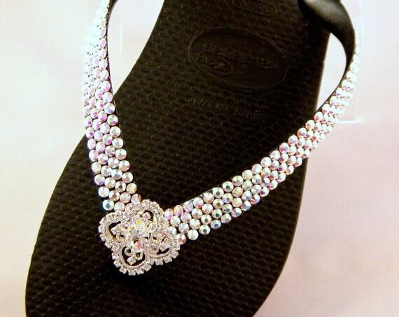 Crystal Havaianas Flip Flop flat or Cariris Wedge w/ Swarovski Rhinestones Custom Silver Filigree Bling Beach Wedding sandals Bridal Shoes