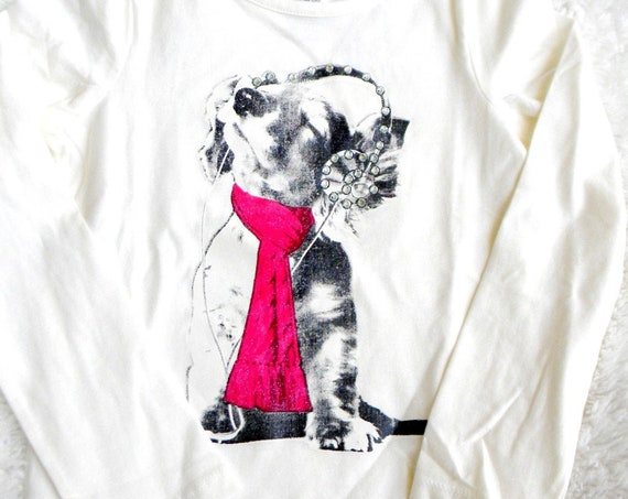 Girls White T shirt youth 6x Long Sleeved Tee GlassSlipper Custom w/ Swarovski Crystal Rhinestone Music Headphones Puppy Dog Image Childrens