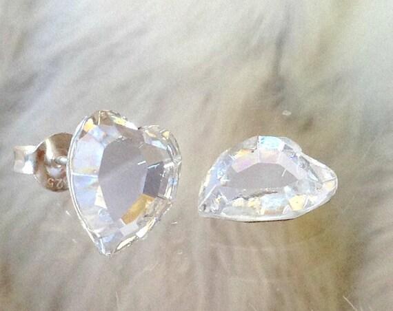 Heart Earrings gift set Custom Swarovski Crystal Clear New Vintage Gems Rhinestone w/ Silver or Titanium Post Minimalist Stud Ladies Jewelry