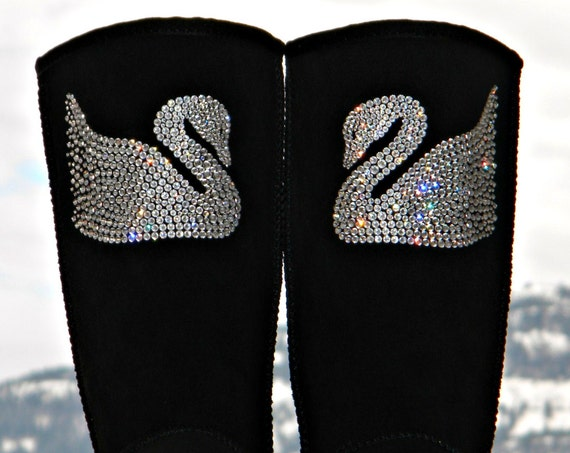 Crystal Swan design UGG Tall Short Boots w/ Swarovski Jewels Handmade Custom Bling Boot Glass Slippers Rhinestone Ladies Winter Shoes gifts