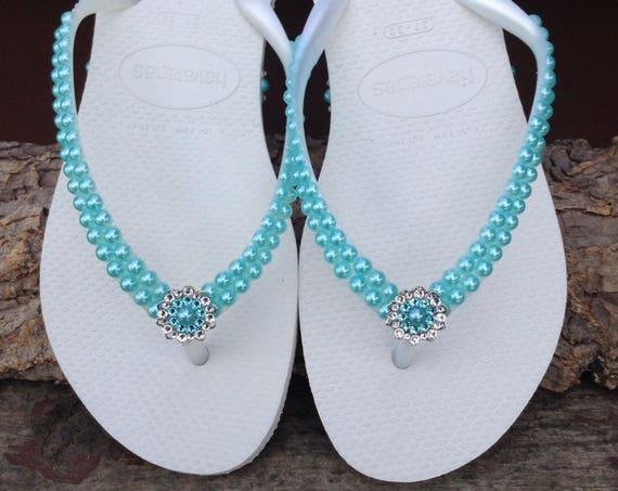 Aqua Blue Pearl Havaianas Slim flat flip flops Turquoise Sky Custom w/ Swarovski Crystal Silver Filigree Bridal Bridemaid Beach Wedding shoe