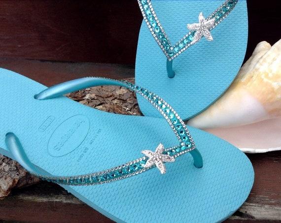 Silver Starfish Custom Crystal Havaianas Slim flip flop 39/40 US 9/10 w/ Swarovski Bling Ice Blue Turquoise Aqua Beach Wedding Sandals Shoes