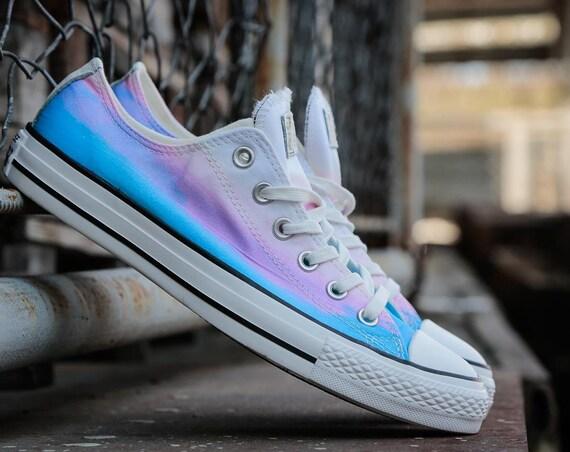 Rainbow Converse Low Top W US 9 Wash fade Ombre Multi Blue Motel Daybreak Pink Purple Custom w/ Swarovski Crystal Rhinestone Sneakers Shoes