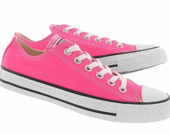Pink Converse Low Bright Rose Blush Fuchsia w/ Swarovski Crystal Rhinestone Bling Bride Chuck Taylor All Star Custom Wedding Sneakers Shoes