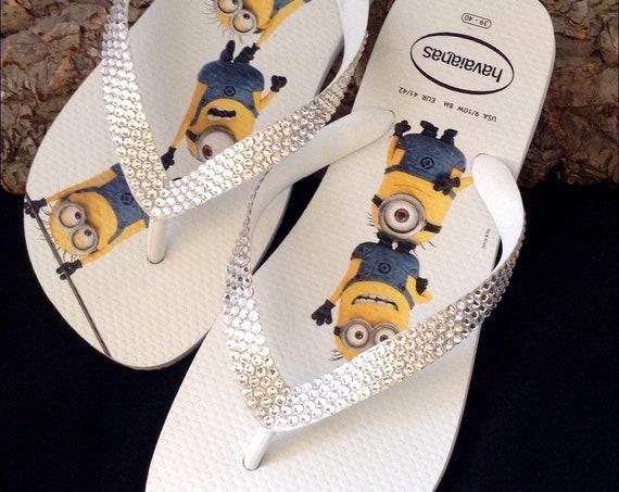 Minions Havaianas Flip Flops Fun Despicable Me White W US 9/10 w/ Swarovski Crystal Clear Rhinestone Bling jewel Custom Shoes Glass Slippers