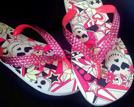 Skull Flip Flops Pink Crystal Glow in the Dark Custom Rose Bling w/ Swarovski Rhinestone Jewel Halloween GlassSlippers US 7/8 Sandals Shoes