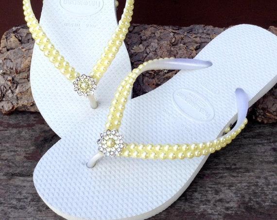 Yellow Pearl Flip Flops Custom Havaianas Slim White Butter Cream Daffodil w/ Swarovski Crystal Filigree Bridal Bridemaid Beach Wedding Shoes