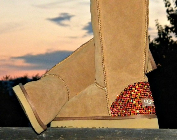 Custom Crystal Boots Tall style UGG Sheepswool or Suede Fleece w/ Swarovski Autumn in New England Jewel Bling Winter Fall MultiColor Shoes