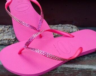 46498b8833896 Hot Pink Flip Flops Ombré Crystal Havaianas Slim flat Fuchsia Rose Wedding  w  Swarovski Rhinestones Bling Jewels Beach Wedding Bridal Shoes
