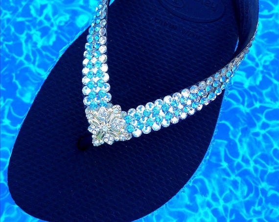 Blue Jewel Havaianas Flip Flops or Wedge Heel Custom w/ Swarovski Crystal Rhinestone 3D Ice Cap design Wedding Beach Bridal Thong Bling Shoe