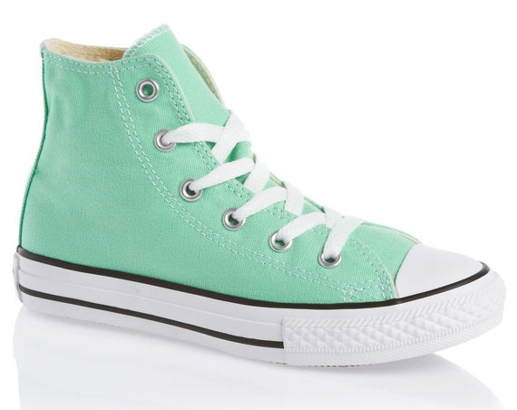 Mint Green Converse High Tops Pistachio Peppermint Seafoam Beach Glass w/ Swarovski Crystal Chuck Taylor All Star Wedding Sneakers Shoes