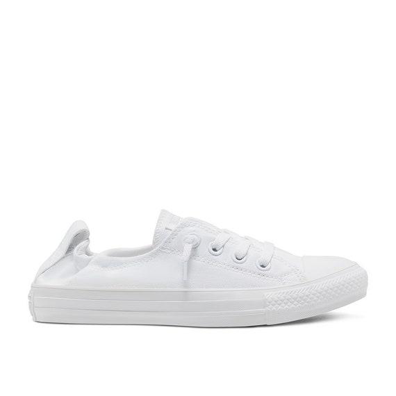 White Converse Shoreline Canvas Low Top Mono Chuck Taylor Custom Bling Bride w/ Swarovski Crystal Rhinestone All Star Wedding Sneakers Shoes