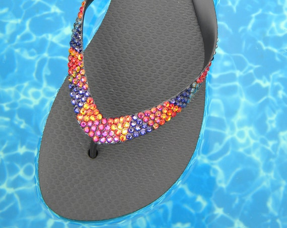 Personalized Rainbow Crystal Flip Flops w/ Swarovski Rhinestone +80 Choices Havaianas flat Cariris Wedge Heel Beach Bling Thong Sandal Shoes