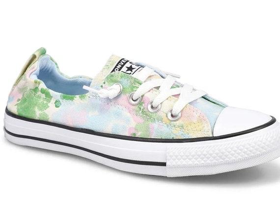 Floral Converse Shoreline Slip on Flower Print Summer Fest Low w/ Swarovski Crystal Chucks Taylor Rhinestone All Star Wedding Sneakers Shoes