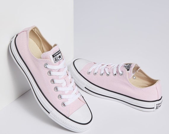 Baby Pink Converse Petal Blush Rose Custom Low Top w/ Swarovski Crystal Rhinestone Bling Chuck Taylor All Star Bride Wedding Sneakers Shoe