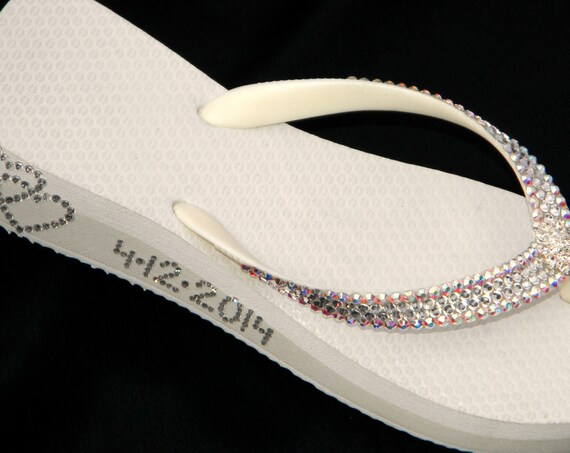 Crystal Wedding Flip Flops Personalized Glass Slippers w/ Swarovski Jewels Havaianas Flat Cariris Wedge Double Heart Date Bling Bridal Shoe