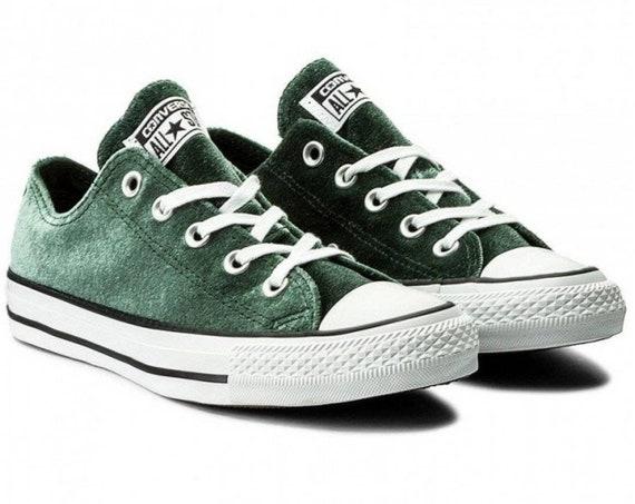 Emerald Green Converse W US 8 Crush Velvet Custom Low Top w/ Swarovski Crystal Rhinestone Bling Jewel Chuck Taylor All Star Sneakers Shoes