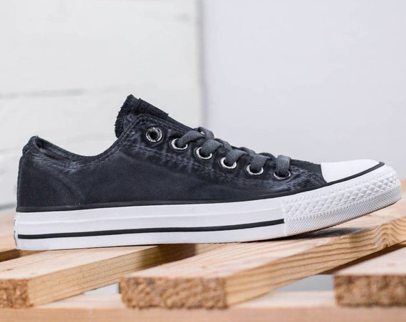 Black Converse Low Top Wash Mono Custom Kicks w/ Swarovski Crystal Rhinestones Grey Chuck Taylor All Star Mens Ladies Wedding Sneakers Shoes