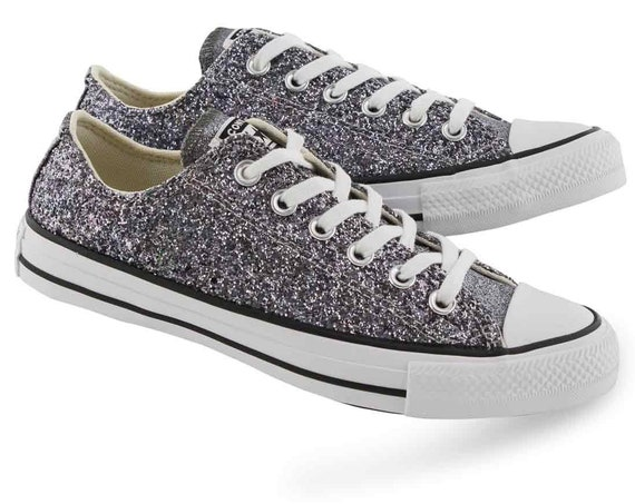 Sparkle Silver Converse Black Glitter LowTop Gray Metallic Chuck Taylor Custom w/ Swarovski Crystal Rhinestone Bling All Star Sneakers Shoes