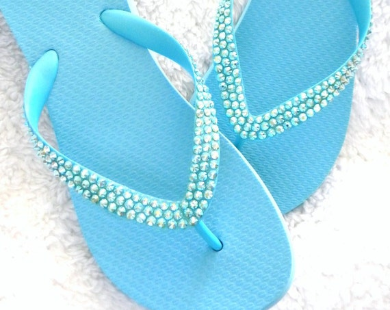 "Baby Blue Flip Flops Sky Aquamarine Custom Crystal Wedge 1.5"" Heel Sandals w/ Swarovski Crystal Rhinestone Jewels Bling Beach Wedding Shoes"