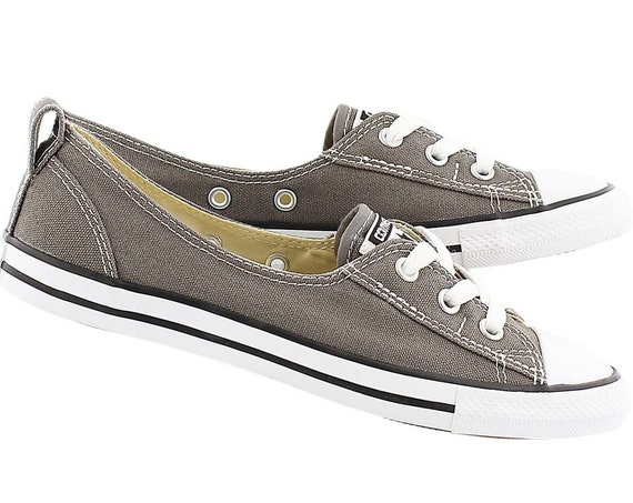 Gray Converse Slip on Low Top Charcoal Ballet flat Wedding Reception Lace w/ Swarovski Crystal Chuck Taylor All Star Bridal Sneakers Shoes