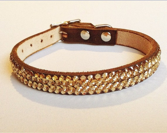 """Crystal Pet Collar Custom Super Bling 8-10"""" Gold Ore leather Exclusive 3D Iced design w/ Swarovski Rhinestone Small Dog Cat Breakaway Safety"""