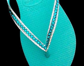 3bd089bee95519 Turquoise Teal or Ice Blue Thongs w  Swarovski Crystal Havaianas Slim  Sophisticate Flip Flops Sandals