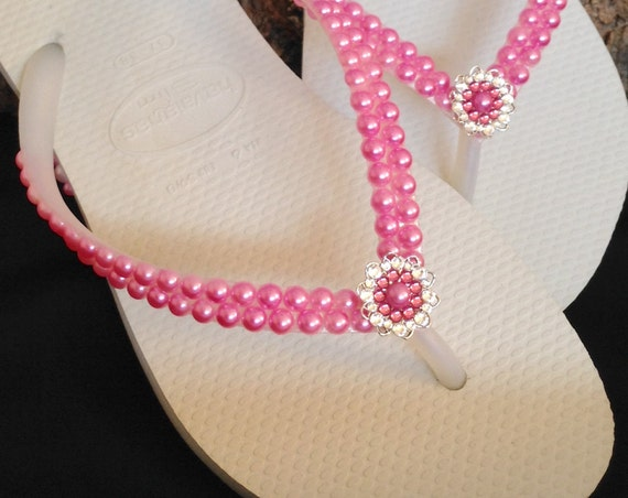 Rose Pink Pearl Flip Flops Custom Havaianas Slim White w/ Swarovski Crystal Rhinestone Silver Filigree Bridal Bridemaid Beach Wedding shoes