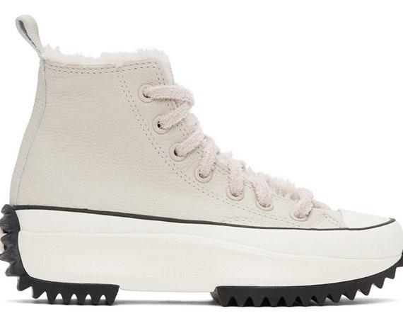 Converse Run Star Hike Fur Faux lined Leather Neutral Winter Boot Platform High Top Kicks w/ Swarovski Crystal Chucks All Star Sneakers Shoe