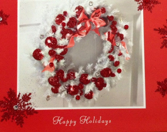 Christmas Holiday Card Custom Crystal Red White Embossed Glitter Wreath w/ Swarovski Rhinestones Seasonal Xmas Greeting Gift w/ Envelopes